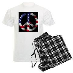 Peace Symbol American Flag on Pajamas