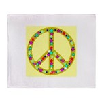 Peace Symbol Bronze Stars on Throw Blanket