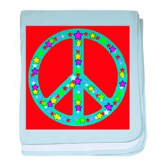 Peace Symbol Stars On Red baby blanket