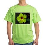 .yellow hibiscus. Green T-Shirt