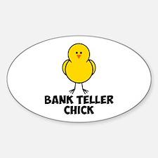 Bank Teller Chick Sticker (Oval)