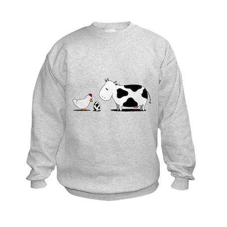 Chicken and cow egg Kids Sweatshirt