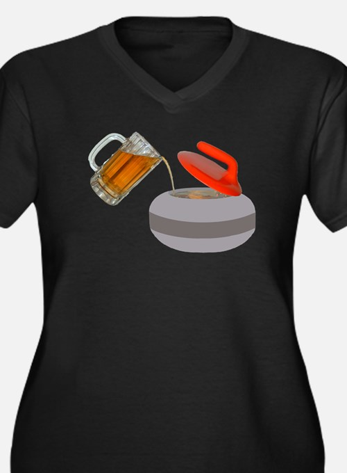 Fueled By Beer Women's Plus Size V-Neck Dark T-Shi