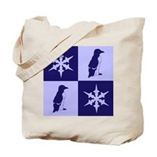 Penguin Quilt (blue) Tote Bag