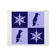 Penguin Quilt (blue) Throw Blanket