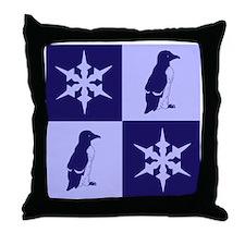 Penguin Quilt (blue) Throw Pillow