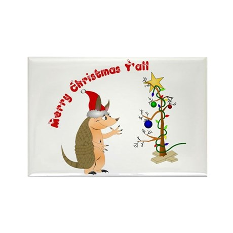 Armadillo Christmas Rectangle Magnet