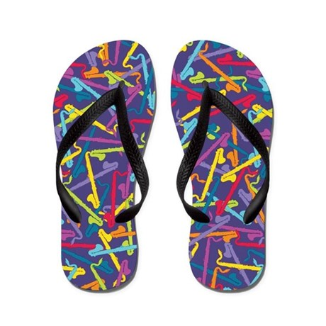 Colorful Bass Clarinet Flip Flops (purple)