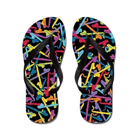 Colorful Bass Clarinet Flip Flops (black)
