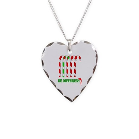 Be Different Candy Canes Necklace Heart Charm
