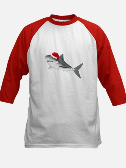 Christmas - Santa - Shark Kids Baseball Jersey