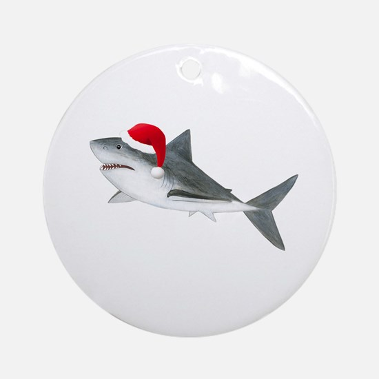 Christmas - Santa - Shark Ornament (Round)