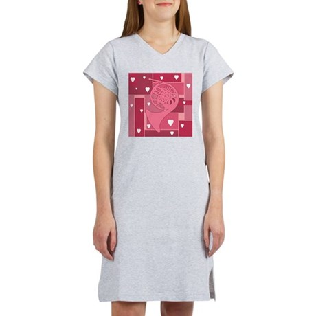 French Horn Hearts Women's Nightshirt