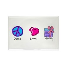 Peace Love and Giving Rectangle Magnet