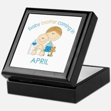 Baby Bro Due April Keepsake Box