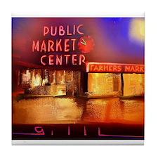 Funny Pike place market Tile Coaster