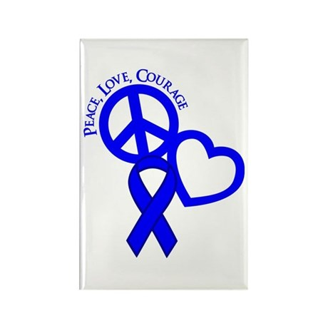 Peace,Love,Courage Rectangle Magnet
