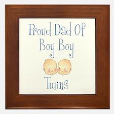 Proud Dad of Boy Twins Framed Tile