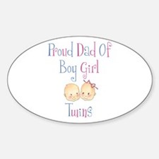 Proud Dad of Boy/Girl Twins Oval Decal