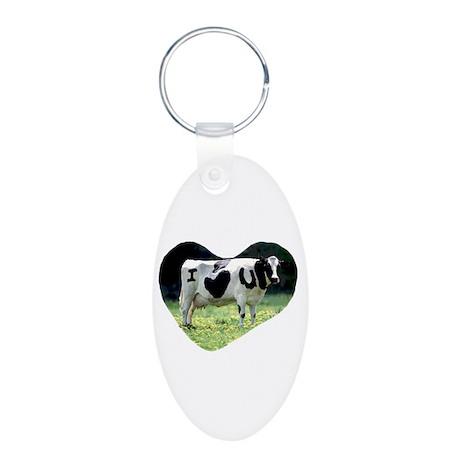 I Love You Cow Aluminum Oval Keychain