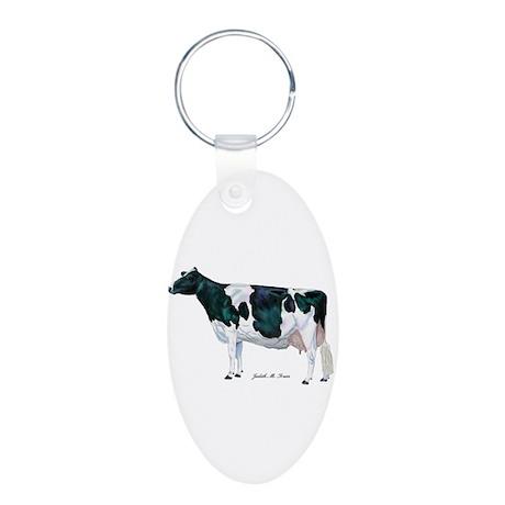 Holstein Cow Aluminum Oval Keychain