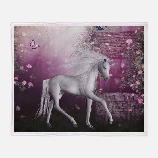 unicorn in roses garden Throw Blanket
