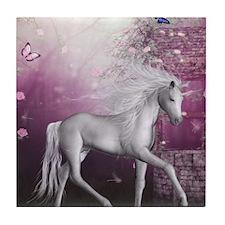 unicorn in roses garden Tile Coaster