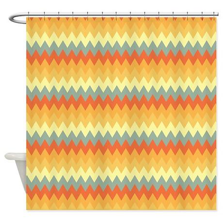Geo Zag Yellow Shower Curtain