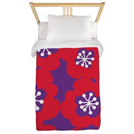 Mari Mek Flower Red Purple Twin Duvet