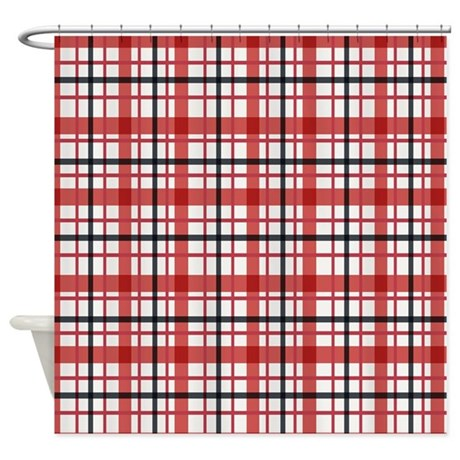 Plaid Basic Red Shower Curtain