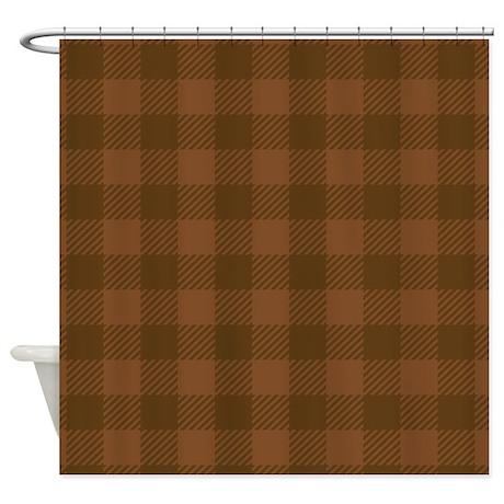 Plaid Brown Shower Curtain By Admin CP45405617