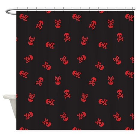 Skull Simple Black Red Shower Curtain