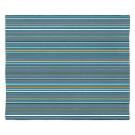 Stripes Horizontal Multi Turquoise King Duvet