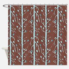 Tree Bird Brown Shower Curtain