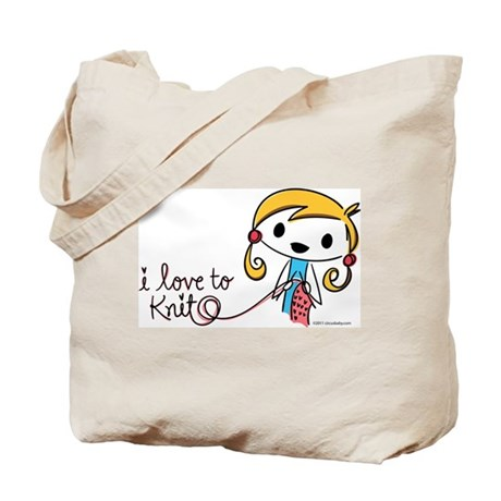 I Love to Knit Tote Bag