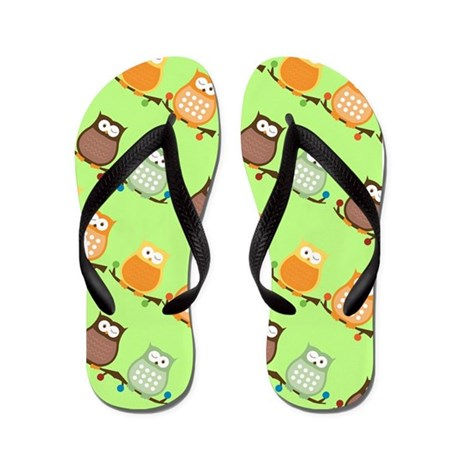 Trendy Owls Flip Flops - Lime Green