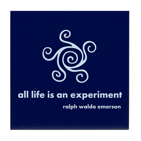 Life Is Experiment (blue) Tile Coaster