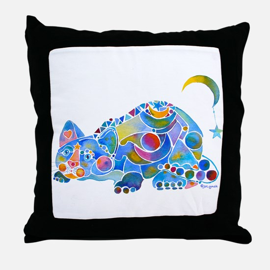 Cat of Moon and Stars Throw Pillow
