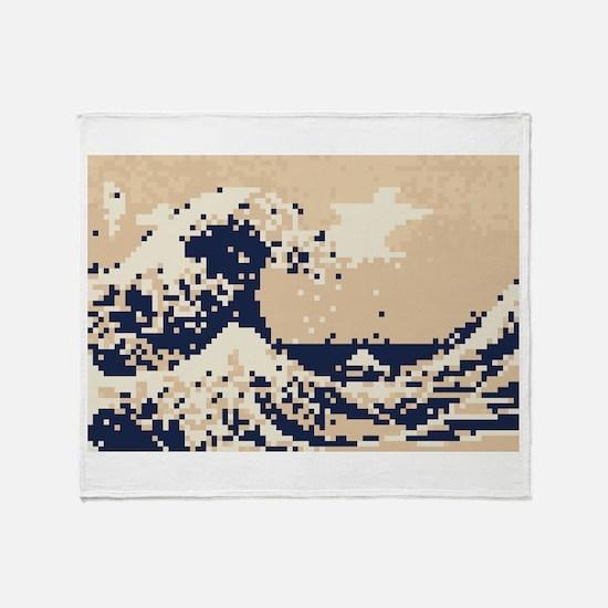 Pixel Tsunami Great Wave 8 Bit Art Throw Blanket
