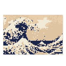 Pixel Tsunami Great Wave 8 Bit Art Postcards (Pack