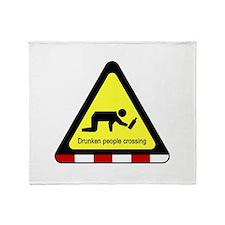 Drunken people crossing Sign Throw Blanket