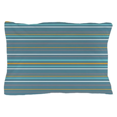 Stripes Horizontal Multi Turquoise Pillow Case
