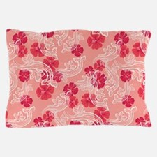 Tropical Flower Waves Pink Pillow Case