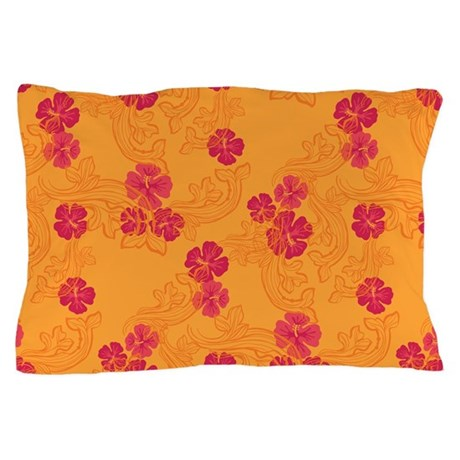 Tropical Flower Waves Yellow Pillow Case