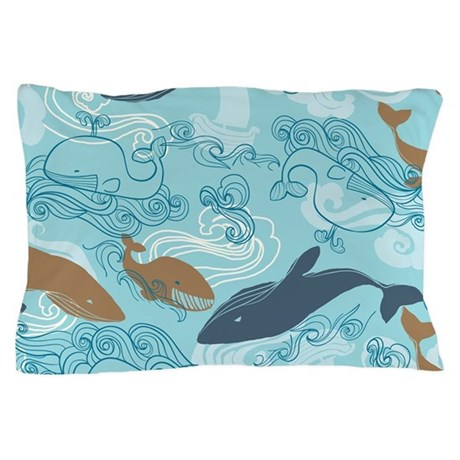 Whale Waves Brown Blue Pillow Case