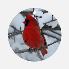 Snow Cardinal Ornament (Round)