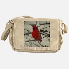 Snow Cardinal Messenger Bag