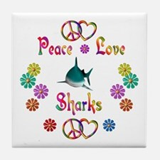 Peace Love Sharks Tile Coaster