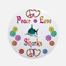Peace Love Sharks Ornament (Round)