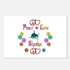 Peace Love Sharks Postcards (Package of 8)